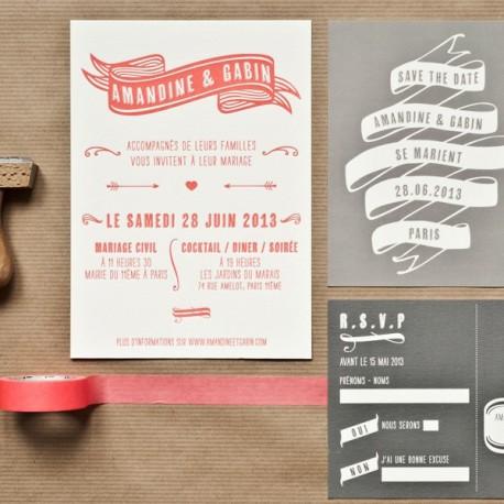 invitation gabin letterpress
